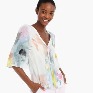 J. Crew 365 Abstract Watercolor Silk V-Neck Top XS